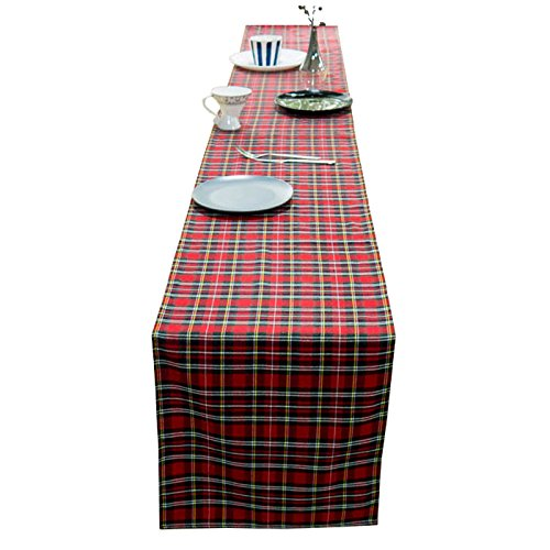 AAYU Brand Scottish Tartan Checkered Table Runner | 14 Inch x 108 Inch | Yarn Dyed Soft Boutique | Red Plaid Table Runner | 250 GSM Fabrics | Red & Black with Stripes by AAYU