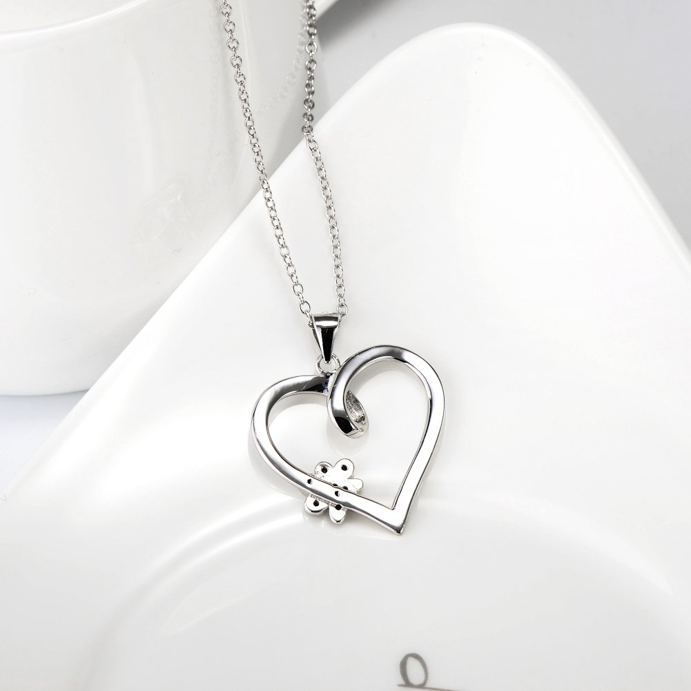 925 Sterling Silver Forever Love Heart Puppy Paw Pendant Necklace, Rolo Chain 18'' by SILVER MOUNTAIN (Image #6)