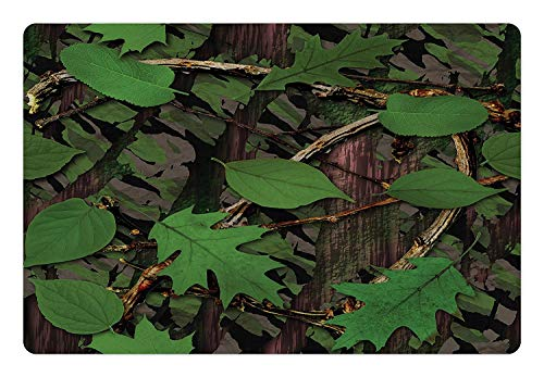 mitotai Forest Pet Mat for Food and Water Tree Trunk Bark with Foliage Leaves Fresh Spring Nature Camouflage Design Rectangle Non-Slip Rubber Mat for Dogs and Cats Fern Green Brown (23.6