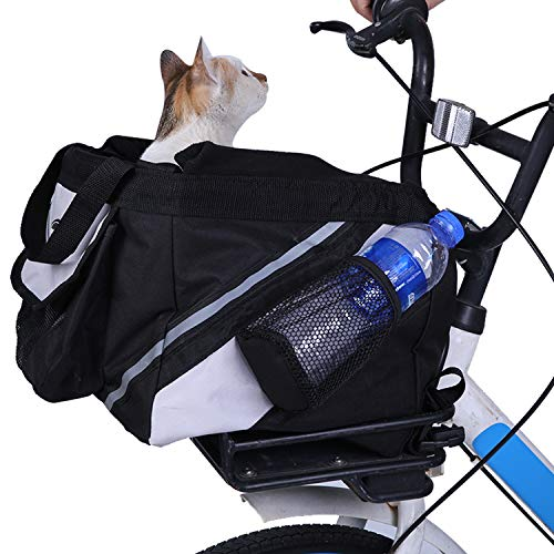 LEMKA Pet Carrier Bicycle Basket Bag Pet Carrier/Booster Backpack for Dogs and Cats with Big Side Pockets(15″ L x 10″ W x 10″ H, Black)