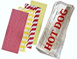 Outside the Box Papers Party Pack with Printed Foil Hot Dog Bags and Paper Straws 100 Each Red, Yellow, White, Silver