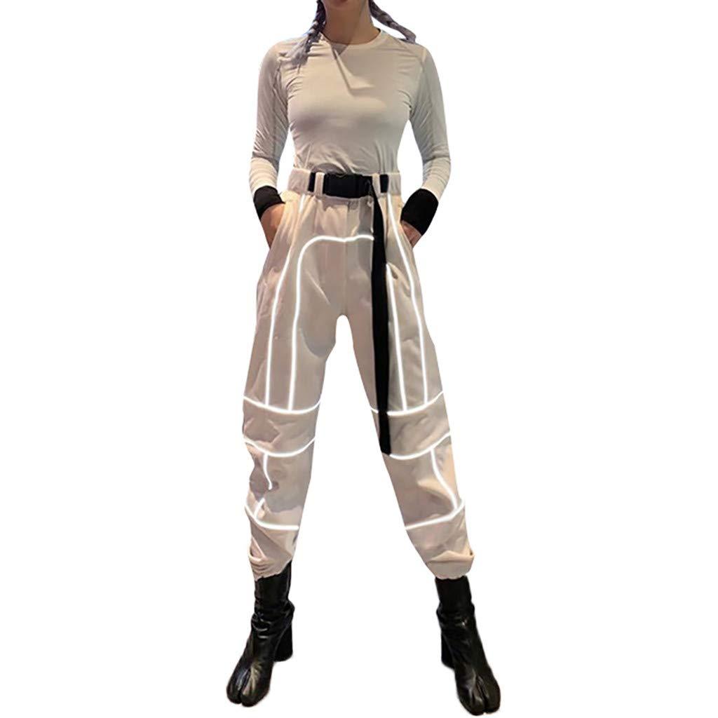 LISTHA Reflective Cargo Pants Women Overalls Street Shot High Waist Trousers Khaki