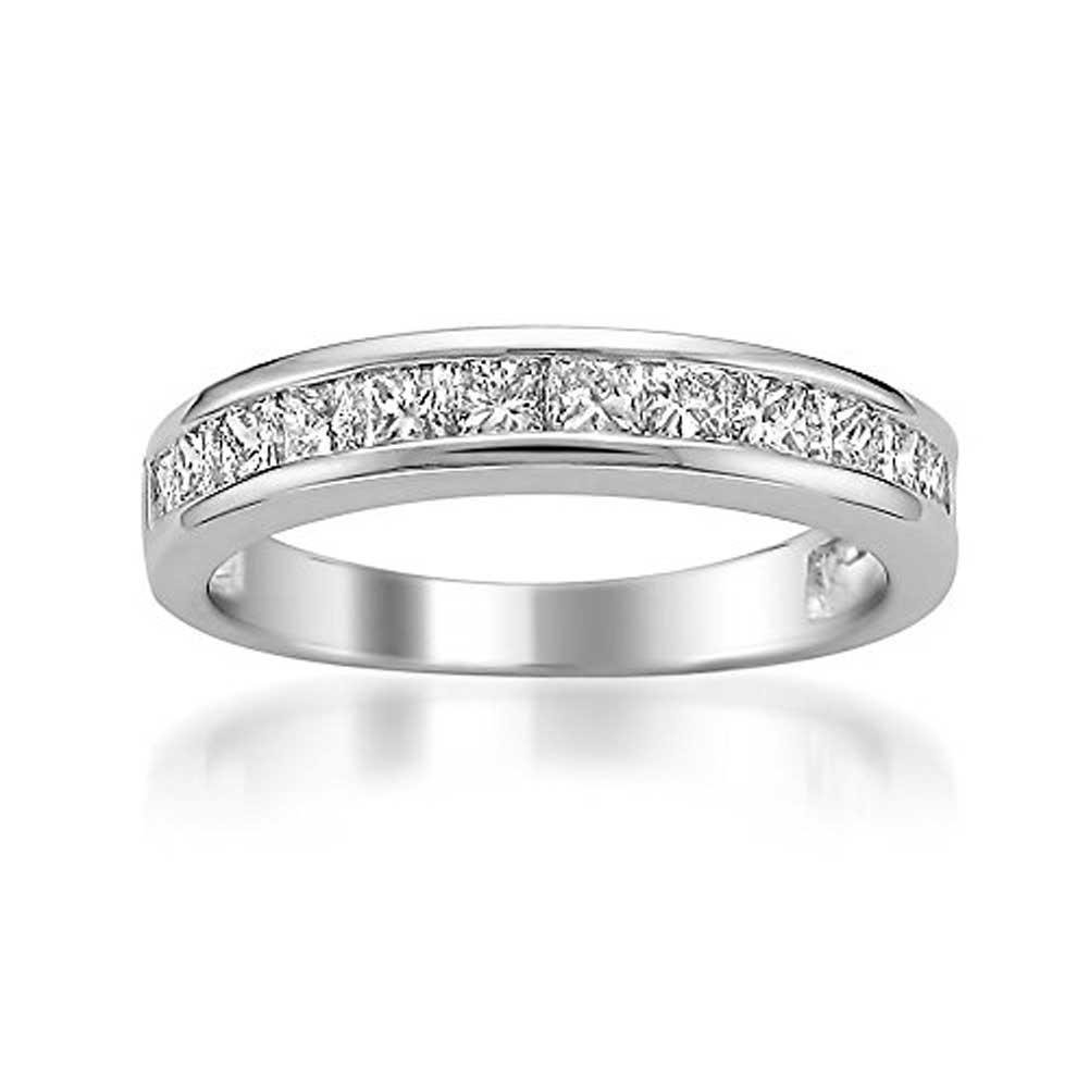 Platinum Princess-cut Diamond Bridal Wedding Band Ring (1 cttw, G-H, VS2) in Size 7