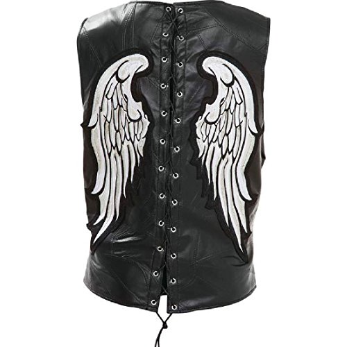 Black Leather Vest White Angel Wings Motorcycle Biker Fully Lined Laced - Vest Lined Leather Fully