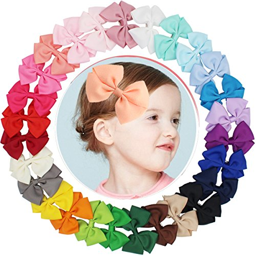 27 Pcs Boutique Grosgrain Ribbon Hair Bow Alligator Clips Barrettes for Baby Girls Toddlers Kids