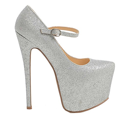 WOMENS LADIES MARY JANE STILETTO HIGH HEEL PARTY PLATFORM ANKLE STRAP SHOES SIZE 3-8 Silver Glitter WYD2wp4