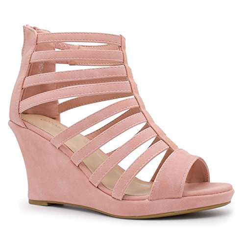 Top Moda Womens Gladiator Inspired Bird Cage Strappy Wedge Sandals Blush (Faux Leather Strappy Heel Wedge)