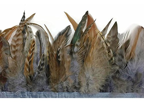 Rooster Feathers, 1 Yard - Silver Grey Chinchilla Rooster Saddle Feather Trim