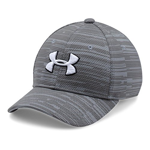 Under Armour Boys' Printed Blitzing Cap, Steel (035)/White, Youth Small/Medium