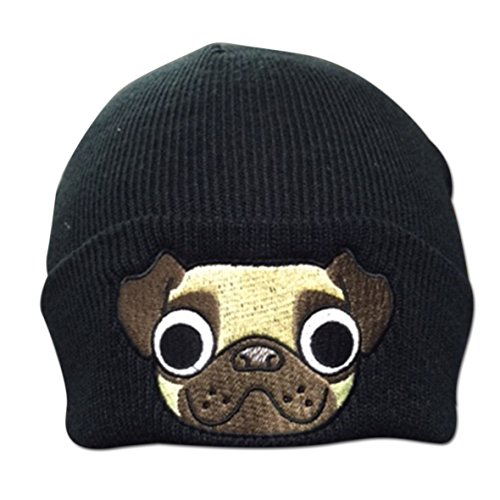 Adult Pug Puppy Dog Embroidered Turn up Fashionable Ribbed Beanie Hat (Knit Dog Ear Hat)
