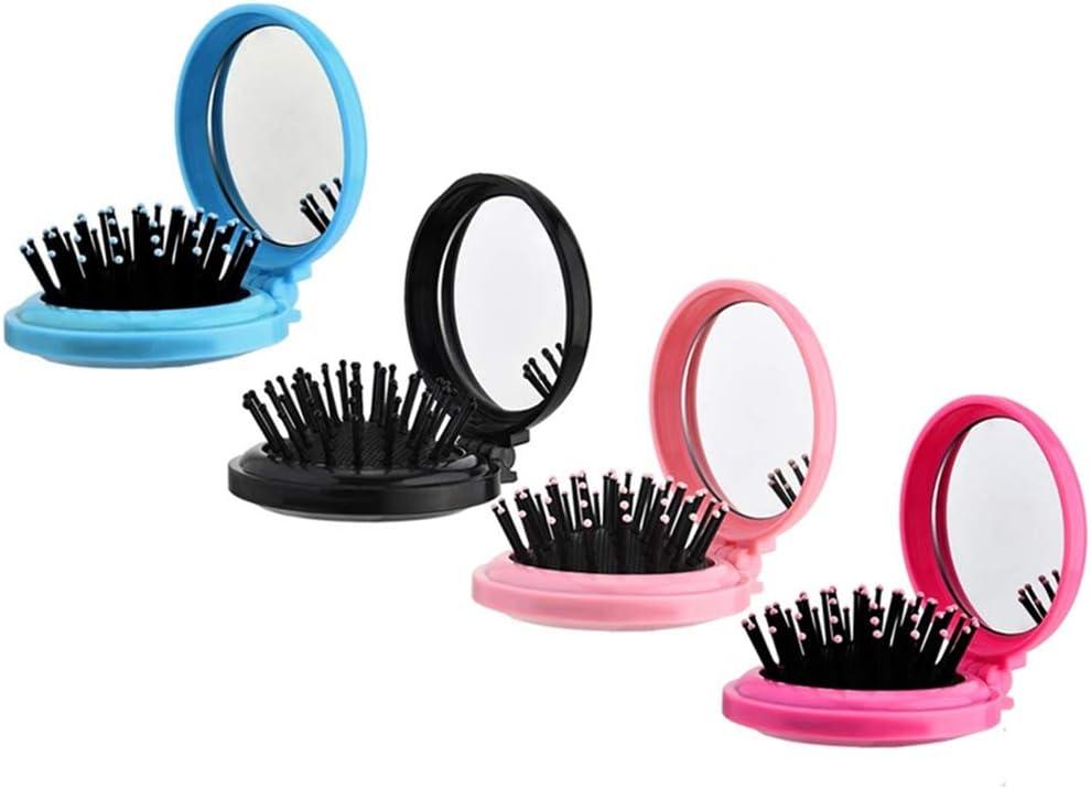 4 cepillos redondos de viaje con espejo plegable para el pelo, mini peineta de viaje, tamaño compacto, para mujeres y niñas