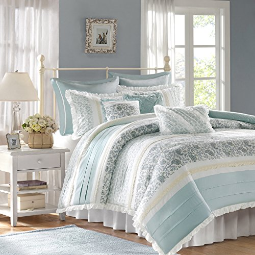 Madison Park Dawn Duvet Cover King Size - Aqua , Floral Shab