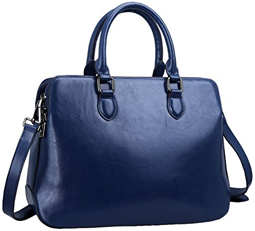 - Heshe Leather Womens Handbags Totes Top Handle Shoulder Bag Satchel Ladies Purses (Dark Blue-r)