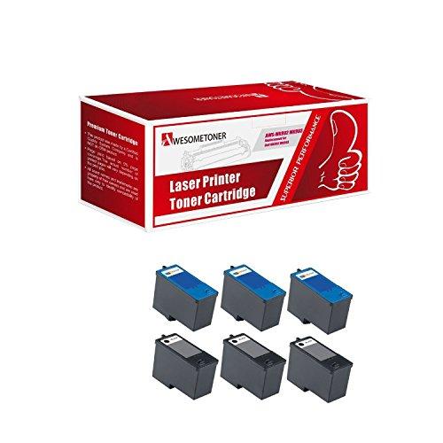 (Awesometoner 6 Pack (3BK+3C) Remanufactured DELL (Series 9) MK992 Black and MK993 Color Ink Cartridges for DELL 926, V305, V305W Printers)