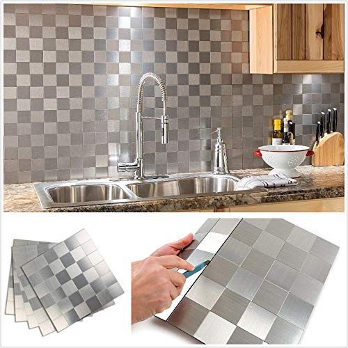 HomeyStyle Peel and Stick Tile Backsplash for Kitchen Wall Decor Metal Mosaic Tiles Sticker,Silver Square Plaid 12