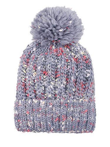 Arctic Paw Ski Cap Adult Chunky Cable Knit Beanie With Yarn Pompom, Light Grey