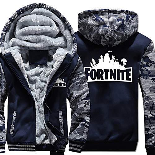 AUKUK Fortnite Winter Jacket Fortnite Hoodie Men Sweatshirt Zipper Winter Plus Velvet Thicken Jacket Coats for Fortnite Fans (NY, M) by AUKUK