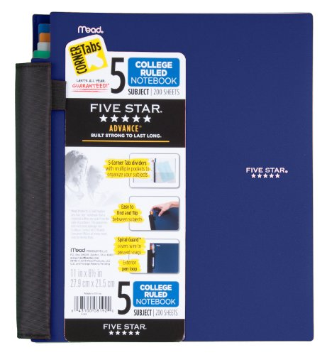 Five Star Advance Spiral Notebook, 5-Subject, 200 College-Ruled Sheets, 11 x 8.5 Inch Sheet Size, Assorted Colors - Color May Vary, 1 Each (08192)