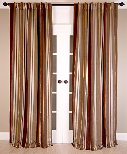 Room with a View P555 Faux Silk Taffeta Rod Pocket Lined Curtain Panel, 52-Inch by 96-Inch, Cocoa Bean Stripe - Taffeta Stripe Rod Pocket Curtain