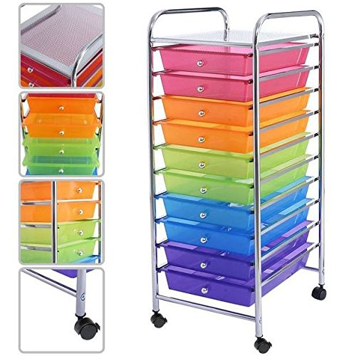 Pink Orange Green Blue Purple 10 Drawers Cart Storage Organizer Rolling Plastic Drawer Scrapbook Paper Shelf Office School Home Rainbow Racks with Lockable Wheels