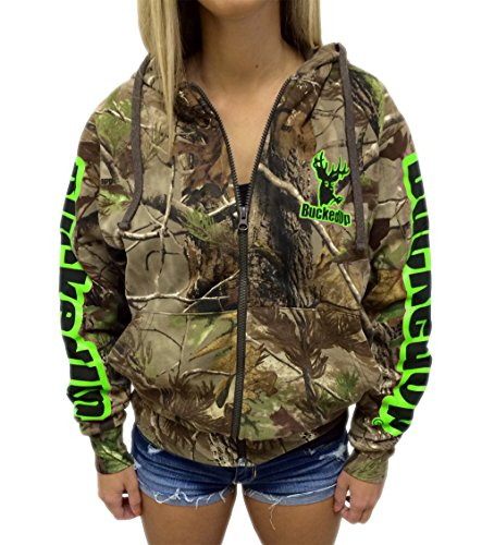 Hoodie Green Camo - BUCKED UP Zipper Hoodie Realtree APG Camo with Green Logo (XXL, Green)