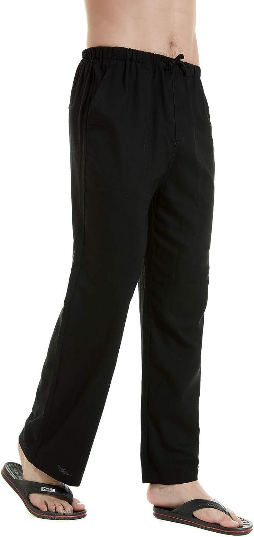 YuKaiChen Mens Linen Cotton Yoga Pants Casual Loose Sweatpants Beach Trousers Lounge Pajama Sleep Pants
