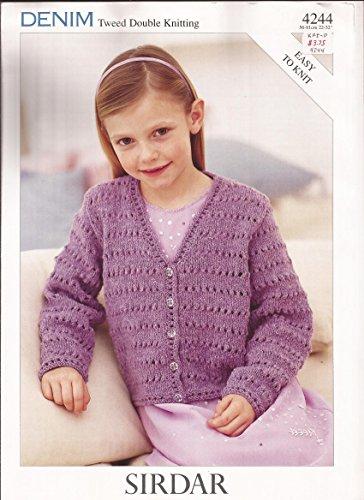 Sirdar Denim Tweed DK Easy Knit Knitting Pattern 4244 Cardigan Girls ()