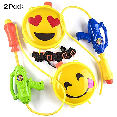 Prextex Emoji Water Blasters 2 Pack Backpack Water Gun Blaster Emoji Water Toy Outdoor Sports Emoji Beach Toy for $<!--$15.69-->