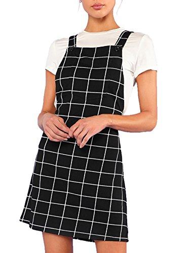 Romwe Women's Straps A-line Corduroy Pinafore Bib Pocket Overall Dress Grid S