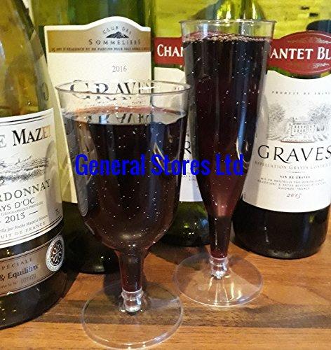 180 x claro plata glitter plástico desechables copas de vino - 175 ml - (2P): Amazon.es: Hogar
