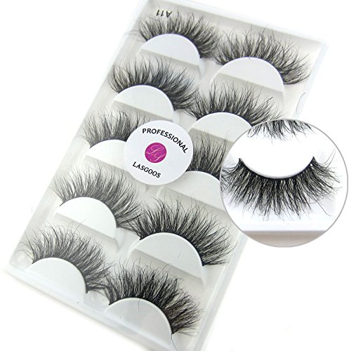 Luxurious 100% Siberian Mink Fur 3D False Eyelash LASGOOS Degisn Natural Messy Volume Fluffy Long Hot Fake Eyelashes 5 Pairs/Box (A11) by LASGOOS