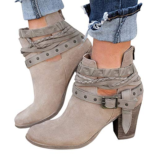 (XMWEALTHY Women's Ankle Buckle Booties Vintage Zipper Heels Short Ankle Boots Khaki US 9.5)