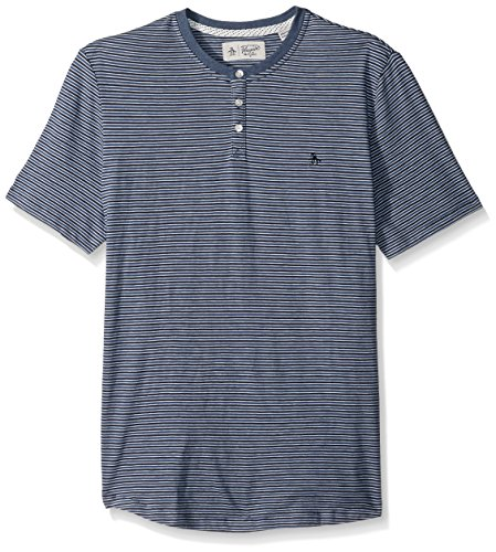 - Original Penguin Men's Short Sleeve Striped Denim Slub Henley, Vintage Indigo, Medium