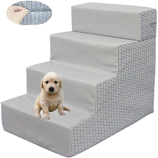 UTOPIAY 4 Pasos de Escalera Impermeables para Perro y Gato con Funda Soporte Ajustable y Lavable de Alta Resiliencia Escalera de Mascota Súper Suave (Gris): Amazon.es: Hogar