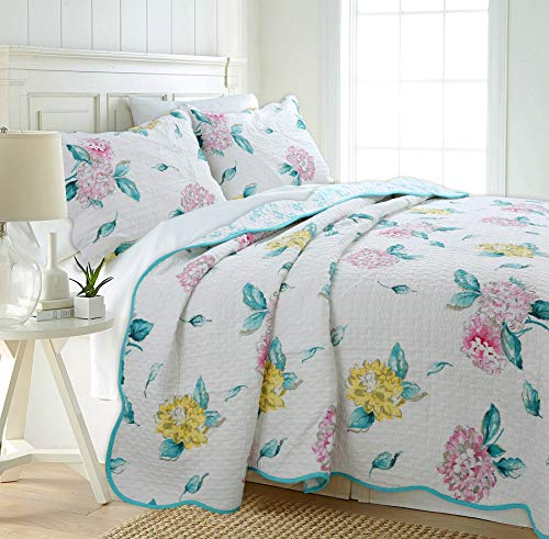 Cozy Line Home Fashions Fresh Bloom Bedding Quilt Set, Blue Pink White Yellow Flower Floral Print Pattern 100% COTTON Reversible Coverlet Bedspread, Gifts for Girl Women (Fresh Bloom, Queen - 3 piece) ()