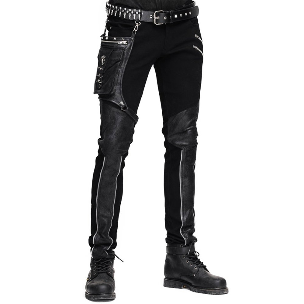 befcde97211b5 Top5: Devil Fashion Casual Pants For Men Punk Patchwork Straight Trousers  With Pocket