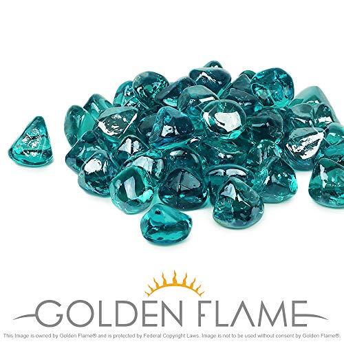 - Golden Flame 10-Pound Fire Glass 1-Inch Caribbean Blue Reflective Fire-Diamonds