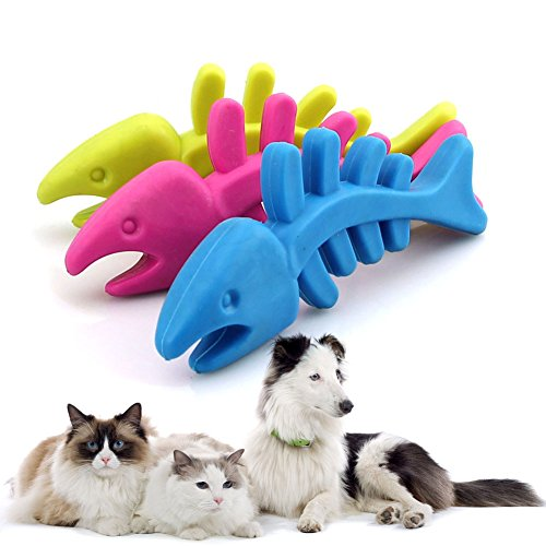 BCHZ Rubber Pet Dog Puppy Cat Dental Teething Healthy Gums Clean Chew Play Toys Cute Fish Bone Shape