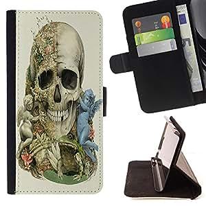 - Skull Devil Pattern Sugar Skull Skulls - - Caso de la cubierta de la piel cierre magn¨¦tico Cartera de cuero del tir¨®n FOR Apple iPhone 5 5S Justin City