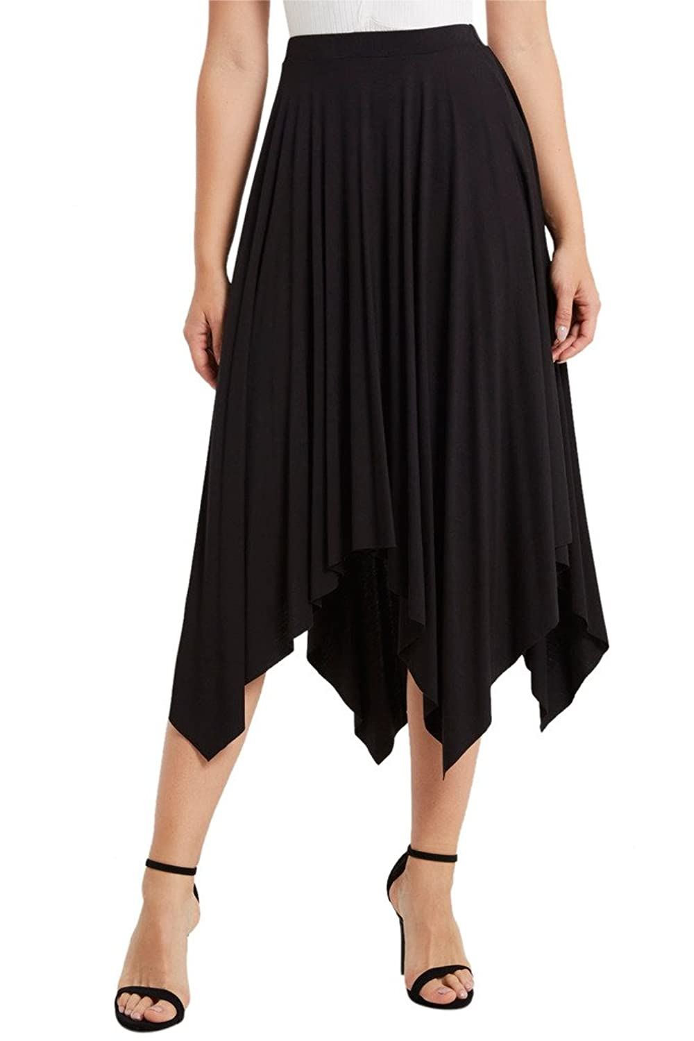 1920s Skirts, Gatsby Skirts, Vintage Pleated Skirts Poshsquare Womens Handkerchief Uneven Knit Skirt Dance Midi Skirt USA $24.00 AT vintagedancer.com