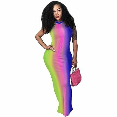 968d1af4c9 Amazon.com: Womens Sexy Halter Backless Tie-dye Print Wrap Dress Nightclub  Maxi Dress Bodycon One Step Dress: Clothing