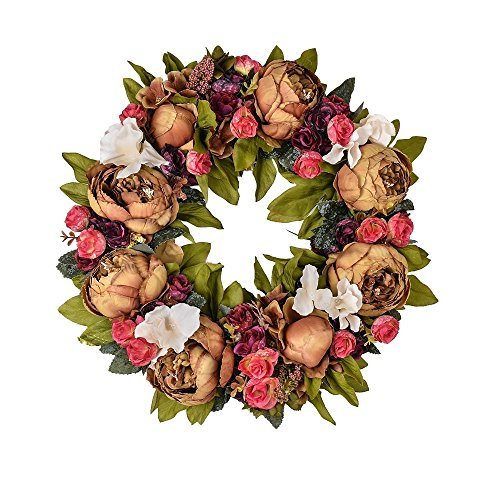 LOUHO Rose Wreath Artificial Flower Blossom Garland, Floral Wreaths Flowers Arrangements, Spring Decor Home Office Wall Wedding Decoration Year Round Display (Flower-4) by LOUHO