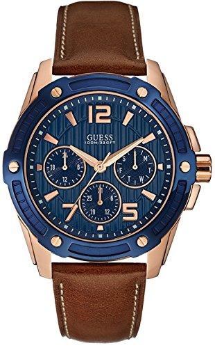 e62f50d66940 Guess Reloj analogico para Hombre de Cuarzo con Correa en Piel W0600G3   Amazon.es  Relojes