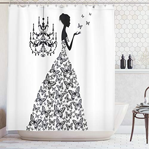 Ambesonne Vintage Shower Curtain Love Home Country Wedding Themed Romantic Butterflies Princess Retro Parisienne Cloth Fabric Bathroom Decor Set with Hooks 84quot Extra Long Black White