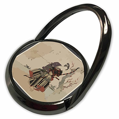 3dRose Florene Asian Art - Japanese Hunter Framed In Charcoal Gray - Phone Ring (phr_39592_1)