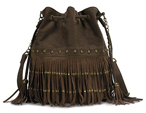 Scarleton Couture Studded Tassel Drawstring Bag H200821 - Coffee Studded Drawstring