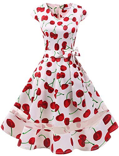 - Gardenwed Women's 1950s Rockabilly Cocktail Party Dress Retro Vintage Swing Dress Cap-Sleeve V Neck White Cherry XS