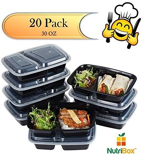 Nutribox [20 pack] 30 oz - meal prep containers 2 compartment lunch box with lids - BPA Free Reusable Lunch bento Box - Plastic food storage spill proof Microwave, Dishwasher and Freezer Safe
