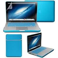 GMYLE Aqua-Blau 4 in 1 Hülle Tasche für Macbook Pro 13 Zoll - Weicher Transportbeutel - Tastatur-Abdeckung (US Layout) - Schutzfolie für den Bildschirm (nicht für MacBook Pro Retina 13)