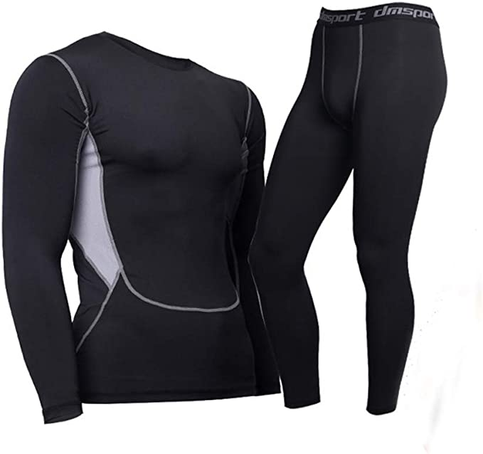 Thermal Underwear for Men Microfleece Lined Long Johns Top and Bottom Set